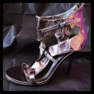 Pewter Silver Gladiator Heels Size 10 Never Worn